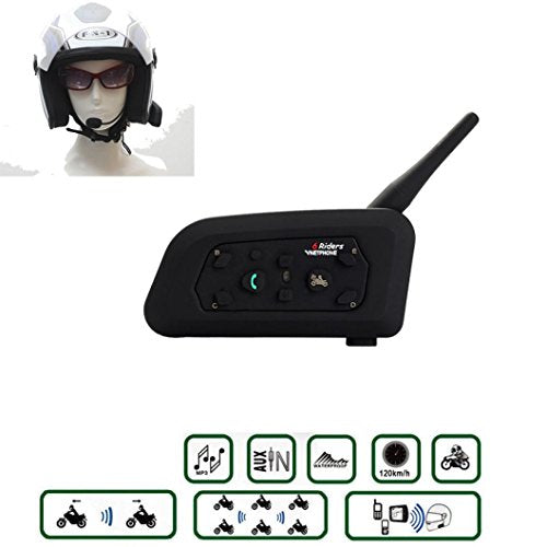 Wireless Walkie-Talkie ,Tuscom 1pc Multi-Function 1200M Motorcycle Helmet Bluetooth Intercom Headsets 6 Riders