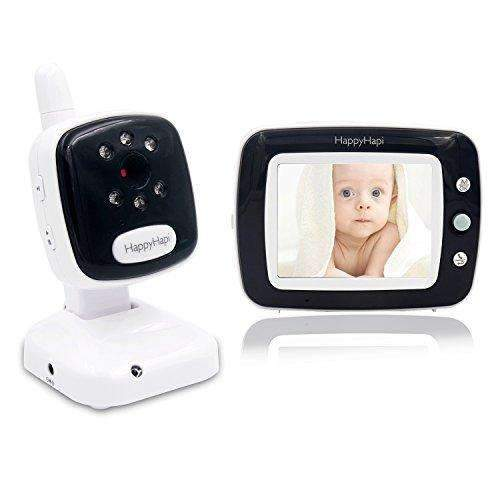 [2017 UPGRADED] Best Video Baby Monitor - HappyHapi 3.5'' LCD Display, Digital Camera, Infrared Night Vision, Two Way Talk, Temperature Monitoring, Lullabies, Long Range and High Capacity Battery