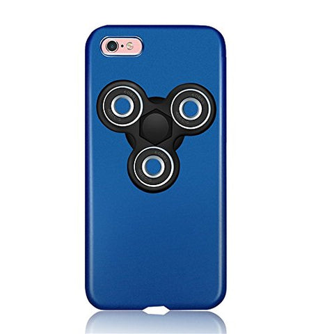 "KOSBON Hard Thin Protective Cover Cases Phone Case with Fidget Finger Spinner Protable Removeable for IPhone 7/7 Plus Iphone 6/6s/6Plus (I blue case+black spinner, For iPhone 6 Plus/6s Plus 5.5"")"