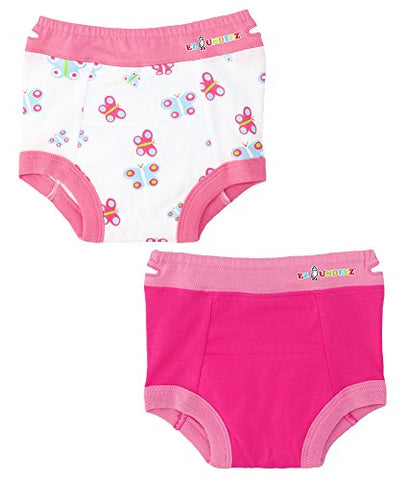 Ez Undeez Baby Girls Toddler Potty Training Pants With Padded Liner (3T, Butterfly-Solid Pink)