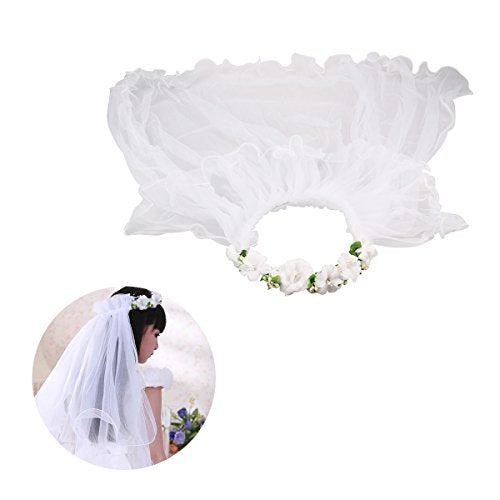 LUOEM Flower Girl Veil Floral Headpiece Crown Wedding Communion Hair Wreath (White)