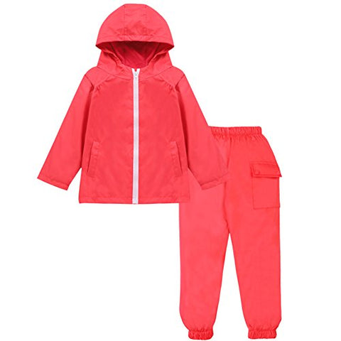 LZH Boys Waterproof Hooded Raincoat Jacket Dinosaur Coat+Pants Suit (6T(for Age 5-6Y), Red)