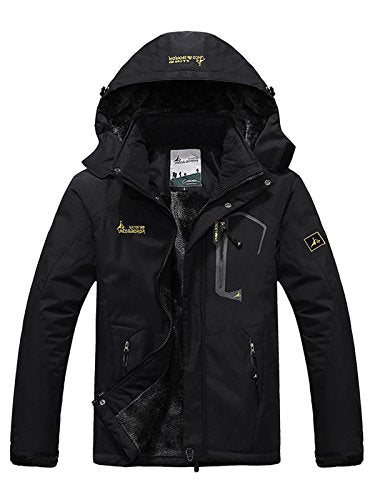 Zando Men Winter Outdoor Windproof Waterproof Raincoat Fleece Ski Hiking Jacket