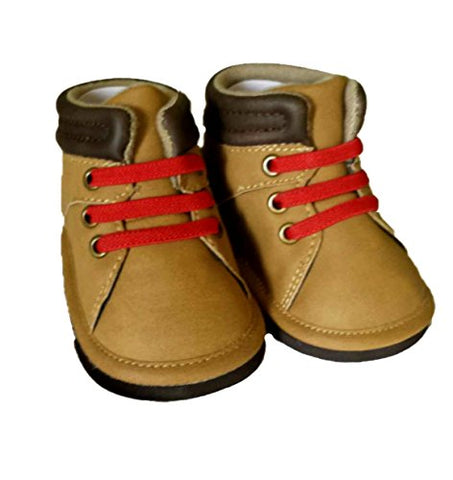 Rising Star Baby Boy Hiking Work Outdoor Boot Crib Shoes, Hard Sole, Brown With Red Elastic Laces (1 (3-6 Months))
