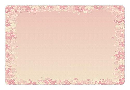 Light Pink Pet Mats for Food and Water by Lunarable, Floral Wreath Frame with Bunch of Flower Beauty Fragrance Feminine Girls, Rectangle Non-Slip Rubber Mat for Dogs and Cats, Peach Light Yellow