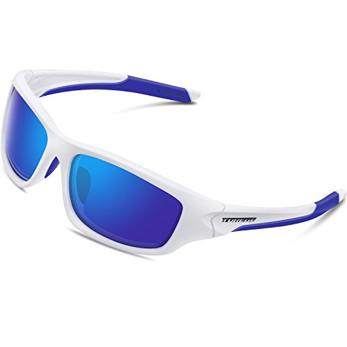 be8dc4394a Torege Polarized Sports Sunglasses For Cycling Running Fishing Golf TR90  Unbreakable Frame TR011 (White Blue)