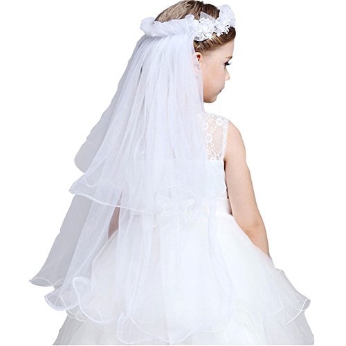 GSCH 75CM Girl White Pearl Wreath Communion Wedding Flower Pearls Crystal Lace Veil Hair Accessory with Comb 2 Tier (White)