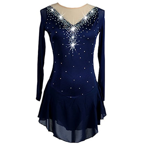 NAKOKOU Women Ice Skating Dress Long Sleeve