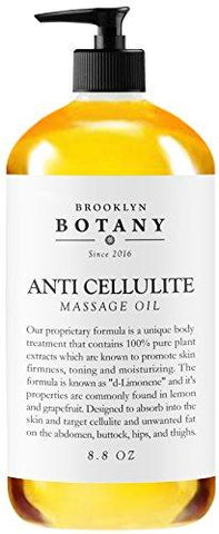 Anti Cellulite Treatment Massage Oil - 100% Natural Ingredients - Penetrates Skin 6X Deeper Than Cellulite Cream - Targets Unwanted Fat Tissues & Improves Skin Firmness - Brooklyn Botany - 8.8 OZ