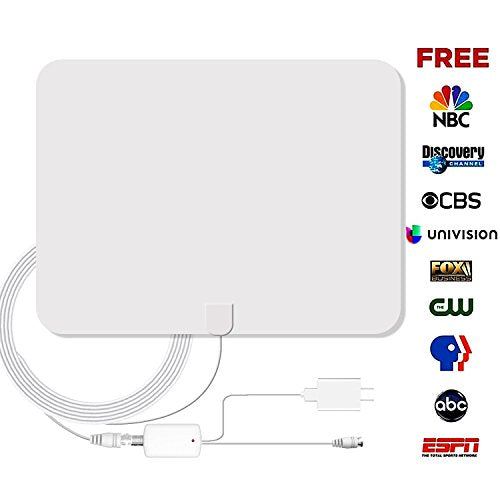 DricRoda Amplified TV Antenna, Digital Indoor TV Antennas 50 Mile Range with Ultra Thin Receiver Panel,13.2ft Coax Cable and Detachable Signal Booster for TV Receiver,White