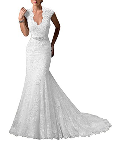 Ri Yun Women\'s Lace Appliques Mermaid Bridal Gowns Cathedral Wedding ...