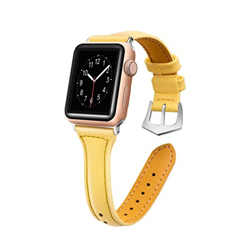 For Apple Watch,Classic Luxury Leather Bands Replacement Accessories Wristband Sports Straps For Apple Watch Series 1/2/3 38mm (Yellow)
