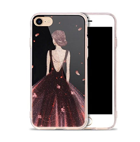 "Iphone 6 Case,Iphone 6s Glitter Case,Jesiya Shiny Sparkle Powder Flower Pattern Cover Ultra Thin Flexible Soft TPU Clear Bumper Bling Case For Girls Women For Iphone 6/6s 4.6""(Girl Purple Dress)"