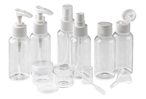 EasyLifeCare 11-Piece Travel Kit Storage Bottles – Lightweight BPA Free Non-Toxic Pump & Spray Pastic Bottle Containers & Jars – Ideal For Cosmetic, Bath & Shower Products: Cologne, Shampoo, Conditioner, Sunblock Lotion – Includes Transparent Cosmetic Zip