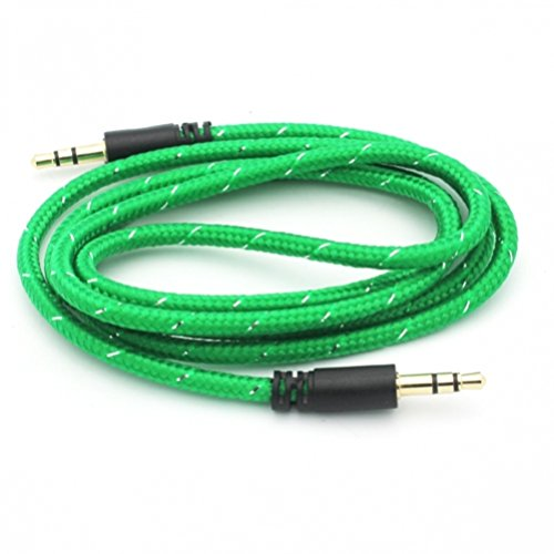 Green Braided Car Audio Stereo Aux Cable Auxiliary Wire Connector Adapter  for Net10, Straight Talk, Tracfone LG Power, Sunrise, Destiny, Lucky,
