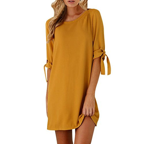 Dress for Women, Zulmaliu Short Bowknot Sleeves Polyester Club Mini Dress (M, Yellow)