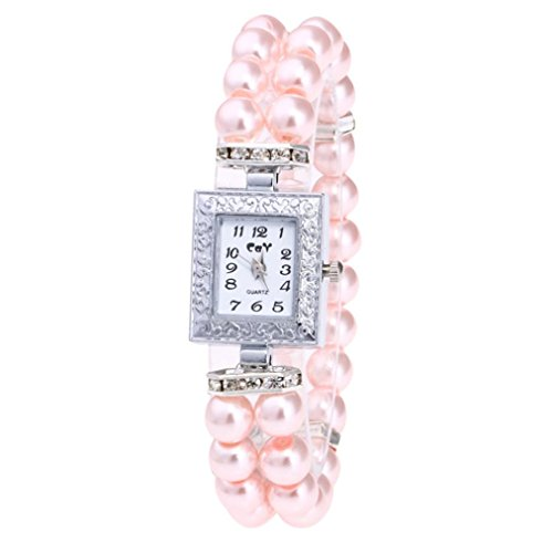 Women Watch Band Fheaven,Fashion Casual Pearl String Watch Strap Quartz Wrist Square Watch (Pink)