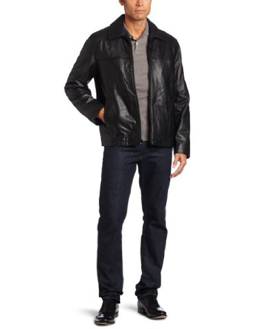 Tommy Hilfiger Men's Classic Open Bottom Genuine Leather Jacket, Black, XX-Large