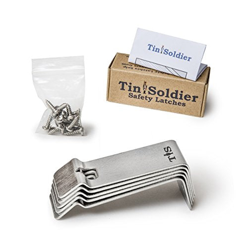 Tin Soldier Metal Cabinet and Drawer Safety Latches (5-Piece Set) Updated Heavy-Duty Stainless Steel Design! | Home, Kitchen, Bathroom, Garage, Boat, RV | Helps Protect Kids, Pets | Includes Hardware