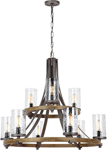 "Feiss F3135/9DWK/SGM Angelo Glass Chandelier Lighting with Shades, Iron, 9-Light (33""Dia x 31""H) 540watts"