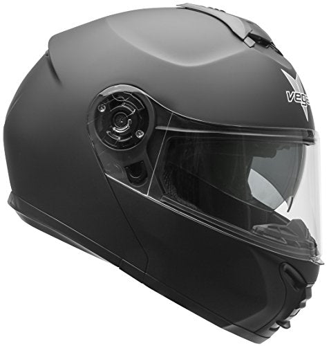 Vega Helmets VR1 Modular Motorcycle Helmet with Sunshield - DOT Certified Half to Full Face Flip Up Motorbike Helmet for Cruisers Scooter Touring Moped, Bluetooth Compat (Matte Black, X-Large)