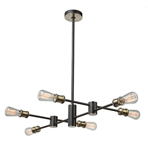 ArtCraft AC10786BK Tribeca - Six Light Chandelier, Matte Black/Satin Brass Finish