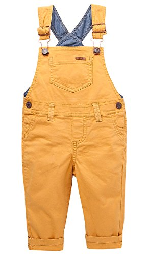 OFFCORSS Toddler Boy Kid Infant Bib Matching Brother Twin Jean Denim Cotton Cute Long Overalls Dungarees Hooks Outfit Overol Para Niños Yellow 12 M