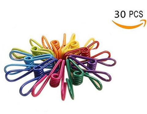 Ericotry Pack of 30 Colorful Multi-purpose Clothesline Utility Clips Steel Wire Clips Windproof Clothespin for Drying Home Laundry Office Cord Clothespins Fastener Socks Scarfs