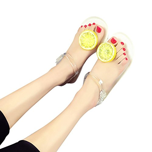 Women Sandals , Amiley Summer lemon Flip flops Sandals Shoes Girls Plate Flip Flop Beach swimming pool Peep ToeS andals (37, White)