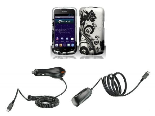 Huawei Vitria H882L (Metro PCS) - Accessory Combo - Black Orchid Vines on  Silver Design Shield Case + Atom LED Keychain Light + Wall Charger + Car
