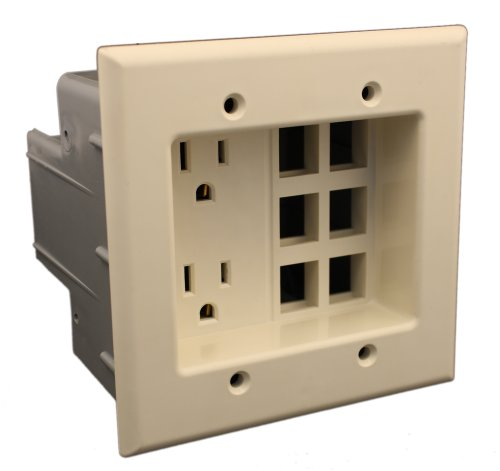 Leviton 690-T 15 Amp, 2 Gang Recessed Device with Duplex Receptacle and QuickPort Plate, Residential Grade, Light Almond