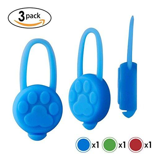 Dog Cat Pet Collar Light, Waterproof Safety Dog Lights for Night Walking, Flash Light in Dark,Pet Collar Charms, Silicone Material, Batteries Included (3 pack)