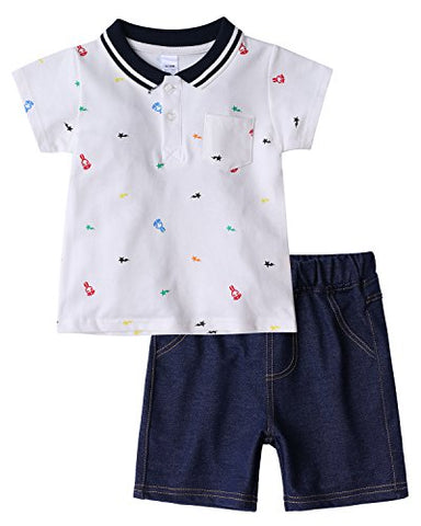 Kidsform Boys Summer Outfits 2 Pieces Toddler Summer Cotton Short Sleeve Tops+Shorts Clothing Sets Off White 12-18 Months