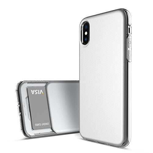pretty nice 826e5 79757 iPhone X Case, DesignSkin [SLIDER SLIM] [Sliding Card Holder Slot] Ultra  Slim Thin Lightweight Perfect Fit Dual Layer Protective Clear Cover with  Card ...