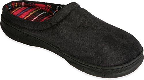 Male Memory Foam Slippers - Size 11 to 12Inches Suede Vamp Checkered Lining, Memory Foam Insole, Very Strong TPR Outsole-Memory Foam Mens Slippers-House Slippers for Men Supply Comfort and Luxuriance