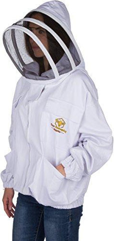 Professional Beekeeping Suit Jacket for Men and Women (Large) - Total Protection - Self-Supporting Fencing Veil for Beekeepers - Easily Take On & Off - 6 Pockets - Good for Beginners as well (White)
