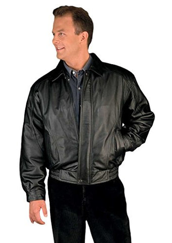 Reed Men's American Style Bomber Genuine Leather Jacket (XL, Black)