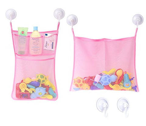 [2 Pack] Bath Toy Organizer Mesh + 6 Strong Suction Cup Hook, Zooawa Bathroom Multi-use Storage Net Bag 4 Pockets + 1 Pocket for Kids, Toddlers and Adults, Pink