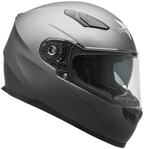 Vega Helmets RS1 Street Sunshield Motorcycle Helmet - DOT Certified Full Facerbike Helmet for Cruisers Sports Street Bike Scooter Touring Moped, Bluetooth Compat(Matte Titanium, Small)