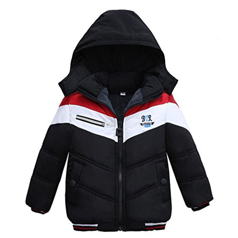 Sunbona Toddler Baby Boys Autumn Winter Down Jacket Coat Warm Padded Thick Outerwear Clothes (2T(12~18months), Black 1)