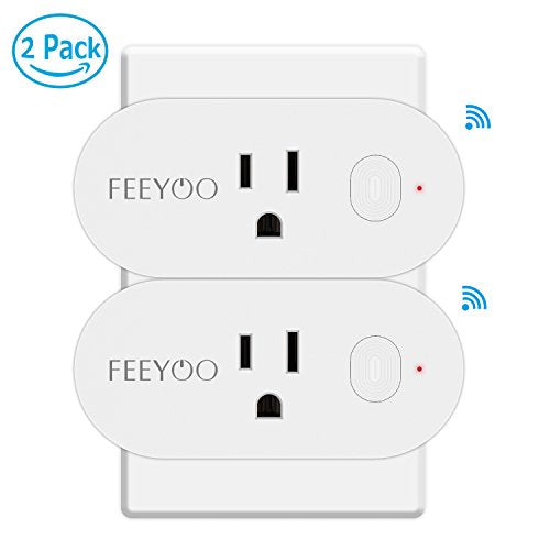 Wifi Smart Plug - Mini Wifi Socket Outlet with Energy Monitoring, Compatible with Alexa and Google Assistant, Control Your Lights, Appliances From Your Phone-2 packs