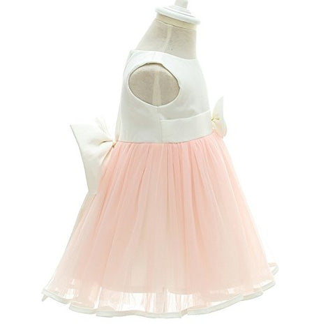 Moon Kitty Baby Girl Dress Christening Baptism Gowns Special Occation Flower Girl Dress, 3M/0-6Month, Pink