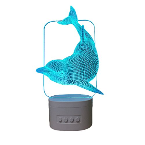 Night Light-3D Illusion LED Dolphin Night Light, USB Rechargeable Battery Touch Switch Color