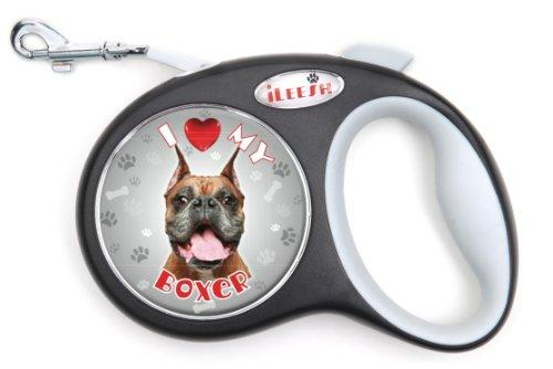 iLeesh i Love My Boxer Retractable Black Leash