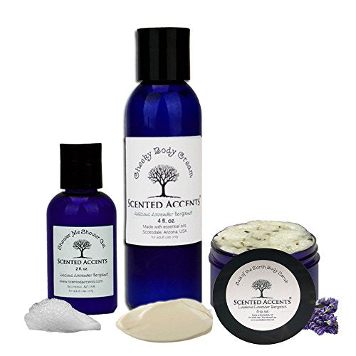 Spa Pack Fresh Made All Natural Lush Lavender Bergamot Body Scrub-Ocean Salt Scrub, Cheeky Body Cream, Travel Shower Gel, for dry flaky skin, moisturizing, calming, hand made vegan skin care