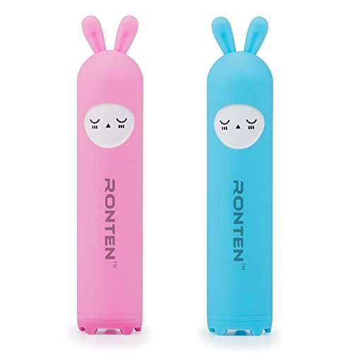 [2-PACK]-Mini Portable Power Bank, Ronten Lovely Cute Designed for Couples Rabbit Silicon Rubber Case Battery Charger Crashproof Shockproof Dustproof Scratch-resistant (Pink+Blue)