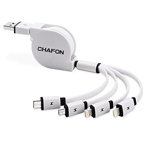 【Only Charging】Retractable 4 in 1 USB Cable,Chafon Multi Universal USB Charger Cable with 1xMicro USB/1xUSB C/2x8 Pin Lightning Connectors Works for iPhone,iPad and Android Smartphone(3.3ft/1m)