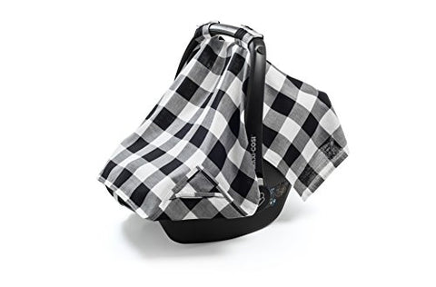 Henry and Bros. Baby Car Seat Covers - Sheer & Lightweight - Cotton Muslin Carseat Canopy - Breathable Infant Car Seat Cover - Monochrome Gingham