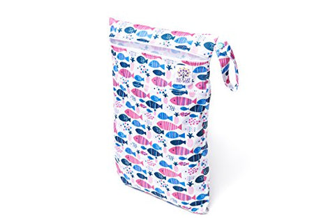 BB Well Wet Bag -2 zippered pockets for wet and dry use-multipurpose from cloth diapers and wipes to swimsuits-this hanging wet bag is for the baby-toddler-kids and adults (blue and pink fish)