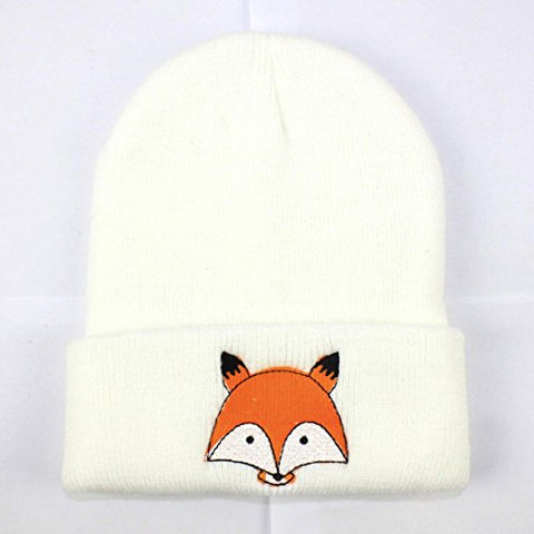 Winter Hats, Inkach Adorable Toddler Baby Girls Knitted Fox Printed Beanie Hats Warm Caps (White)